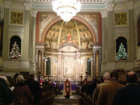 Church interior at Xmas